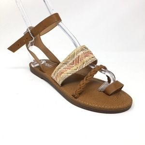 Report Johnnie Braided Brown Flat Sandal Size 8.5